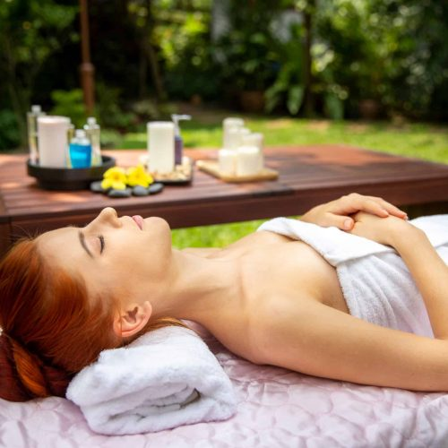 A,Young,Beautiful,Woman,Sleep,Relaxing,In,Spa,Massage,Outside